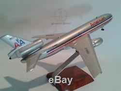 Mahogany desktop aircraft model DC10-30 American airlines to scale 1/160