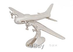 WWII B17 Bomber Airplane Aircraft Desktop Model 13 Aluminum Chrome Nickel New